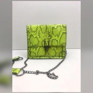 Neon Snakeskin Flap Bag